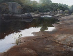 As the River Flows (oil over gesso on marine ply 68.5 x 90 cm 2007)