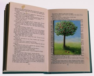 The Apple Tree (oil on board inset into book 8 x 24 x 4 cm 2002