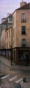 Cat and the Boulangerie (oil on canvas 118x40 cm 2002)