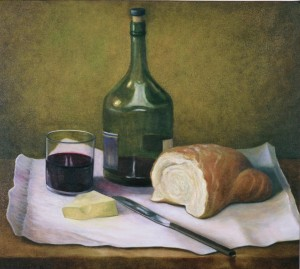 Wine, Bread and Cheese (oil on canvas 46 x 56 cms 2003)