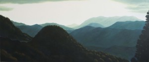 View from Hiko - San (oil on canvas 87 x 207 cm 20120
