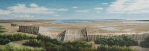 La Camargue- The Fence (oil on canvas, 48 x 138 cms, 2014)