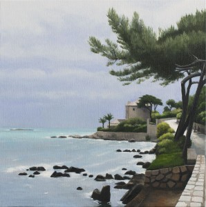 Road Out to the Cape d'Antibes (oil on canvas, 30 x 30 cms  2013)