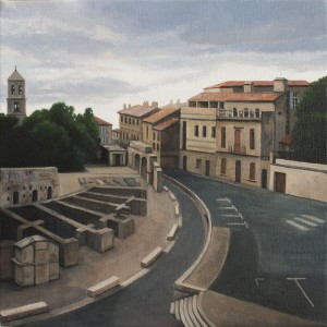 Sunset Over Arles (oil on canvas, 30 x 30cms 2013)