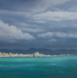 View of Antibes (oil on board, 85 x 85 cms  2013 )
