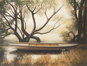 Carot's Canoe (Framed) (oil on marine ply, 23 x 32 cm) $2500