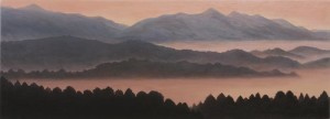 Forest and Mountains - Japan (oil on canvas, 87 x 207 cm) $8,000