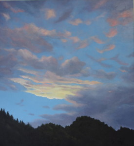 Sky Over Byron (oil on marine ply, 30 x 30 cm) $1500