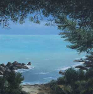 Quiet Cove (framed)   (oil on canvas, 30 x 30 cm) $1500