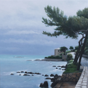 Road Out to the Cap d'Antibes (framed) (oil on canvas, 30 x 30 cm) $1500