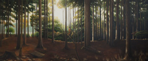 Hiko San Forest (oil on canvas, 87 x 207 cm)  $7000