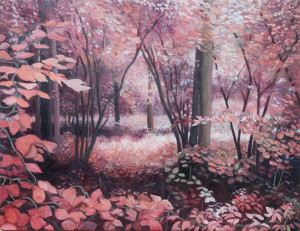 Pink Forrest (Framed) (oil on marine ply, 23 x 32 cm) $2000