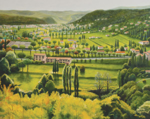 The Valley II - View over St Paul de Vence  (oil on marine ply, 69 x 89 cm) $4,0000
